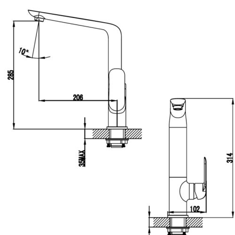 ikon KARA Kitchen Sink Mixer Tap - Matt Black