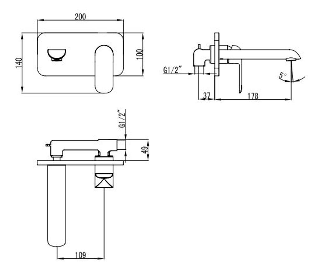 ikon KARA Wall Mixer and Spout Combination Unit - Matt Black
