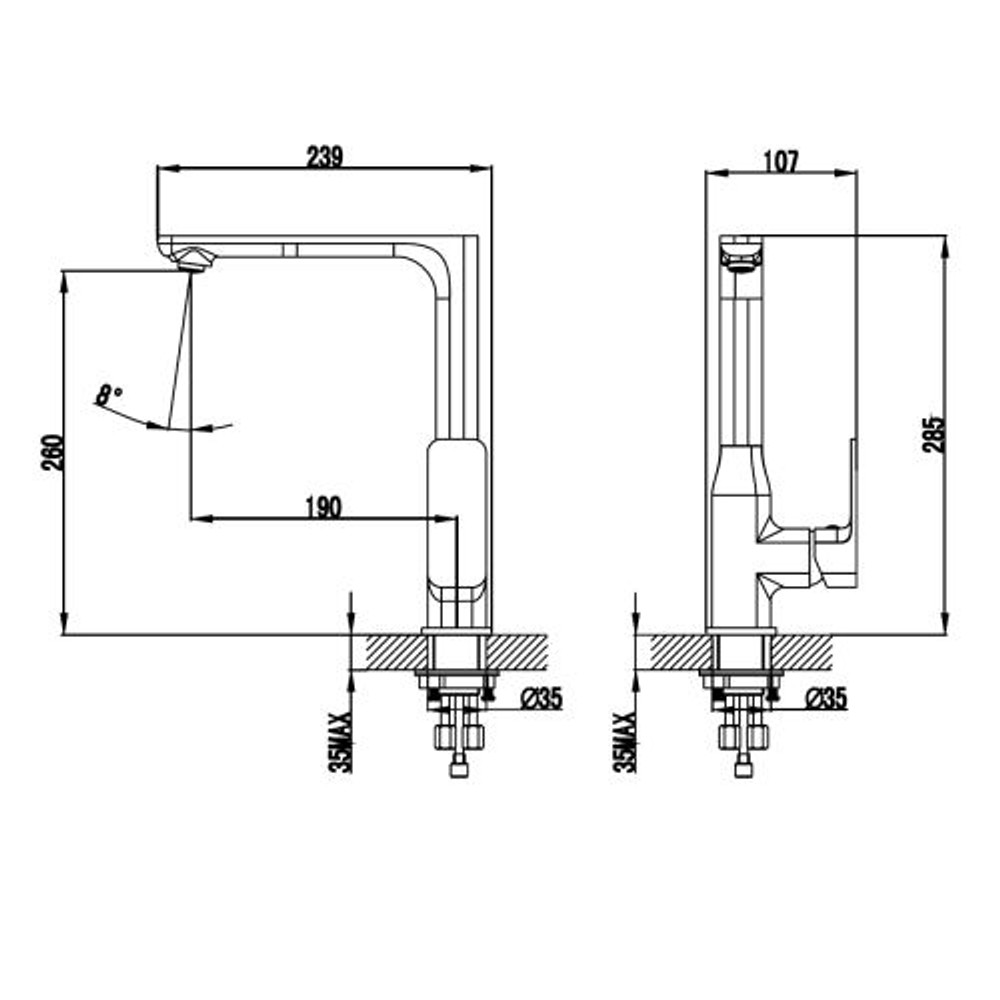 ikon SETO Kitchen Sink Mixer Tap - Matt Black