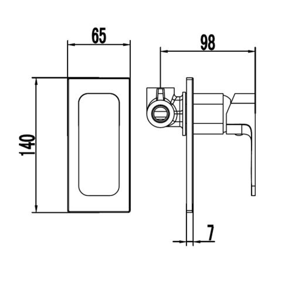 ikon SETO Wall Mixer Tap - Shower / Bath - Matt Black