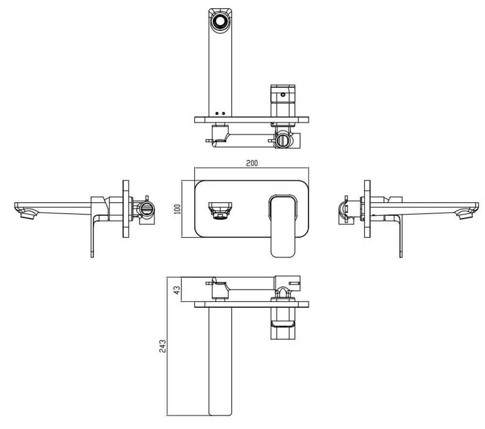 ikon SETO Wall Mixer and Spout Combination Unit - Black & Rose Gold