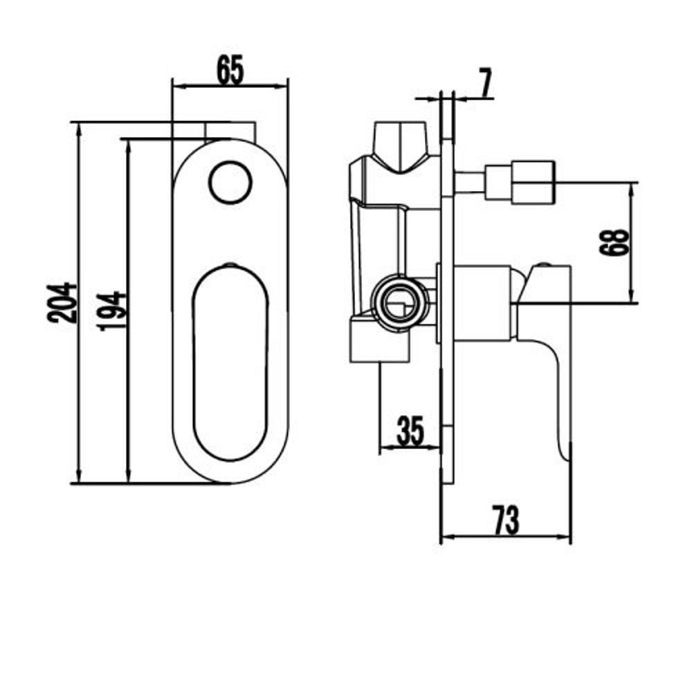 ikon BANDA Wall Diverter Mixer Tap - Shower / Bath