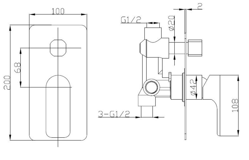 Normandy ETHAN Wall Diverter Mixer Tap - Shower / Bath - Matt Black
