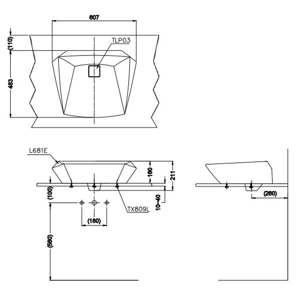 TOTO Jewelhex 681 Bench Top Basin
