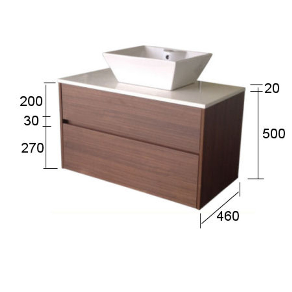 Chiron FIVE Vanity 600mm Wall Mounted - Stone Bench & Inset Basin HA