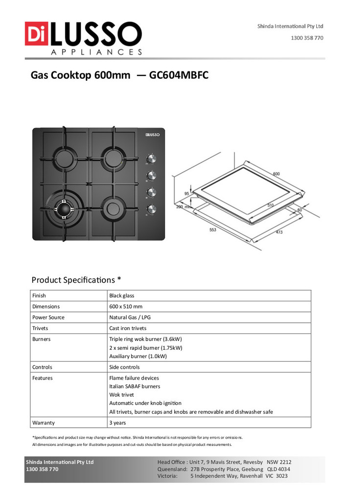 Dilusso GAS COOKTOP - 600MM BLACK GLASS