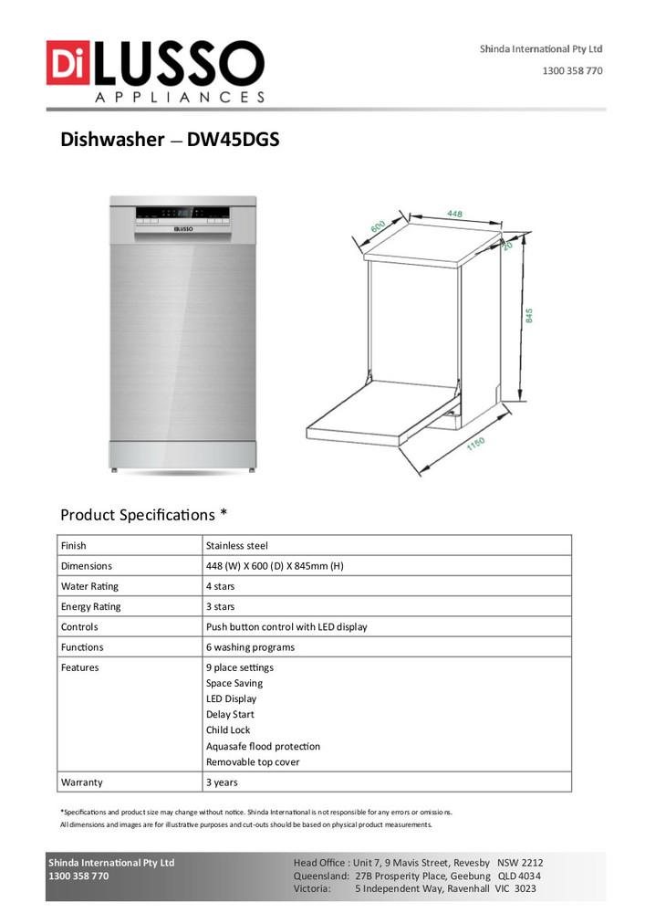 Dilusso FREESTANDING DISHWASHER - 450MM 9 PLACE SETTINGS