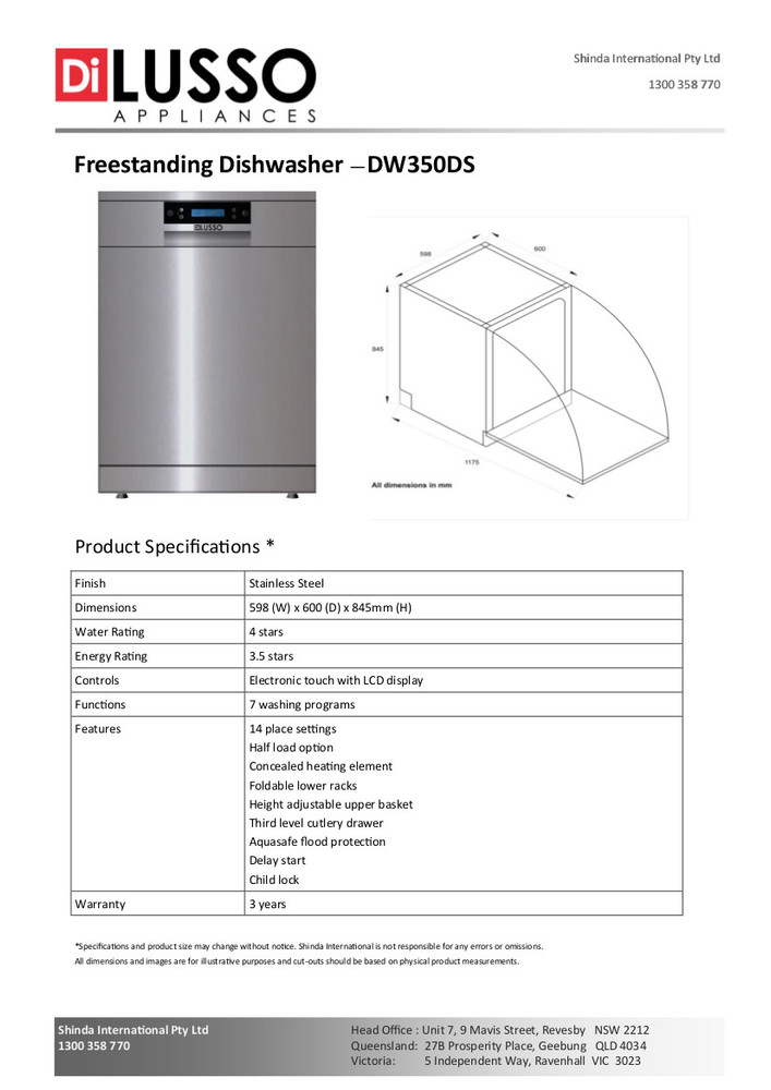 Dilusso FREESTANDING DISHWASHER - 600MM 14 PLACE SETTINGS DARKER