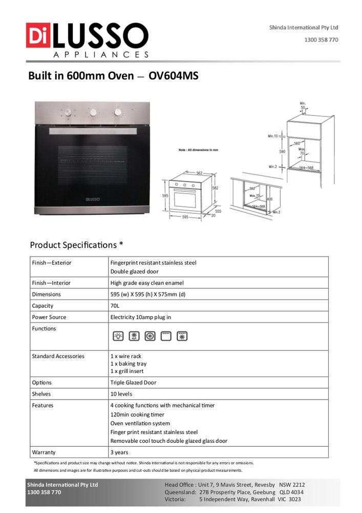Dilusso ELECTRIC OVEN - 600MM 8 FUNCTION