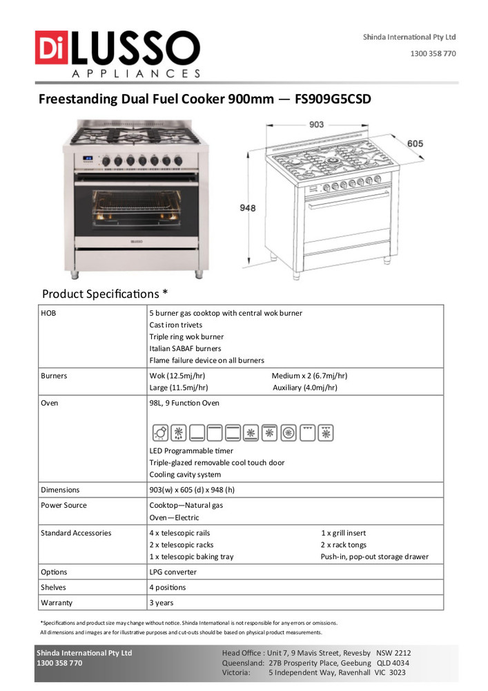 Dilusso FREESTANDING DUAL FUEL COOKER - 900MM DESIGNER