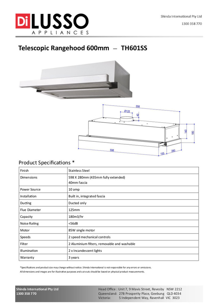 Dilusso TELESCOPIC RANGEHOOD - 600MM DUCTED ONLY