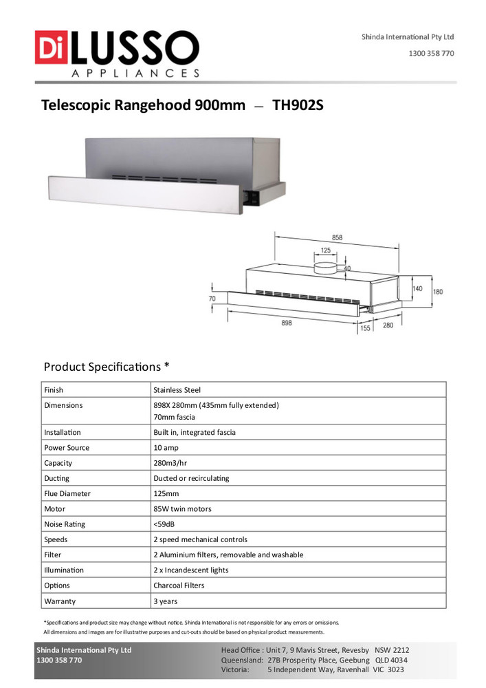 Dilusso TELESCOPIC RANGEHOOD - 900MM