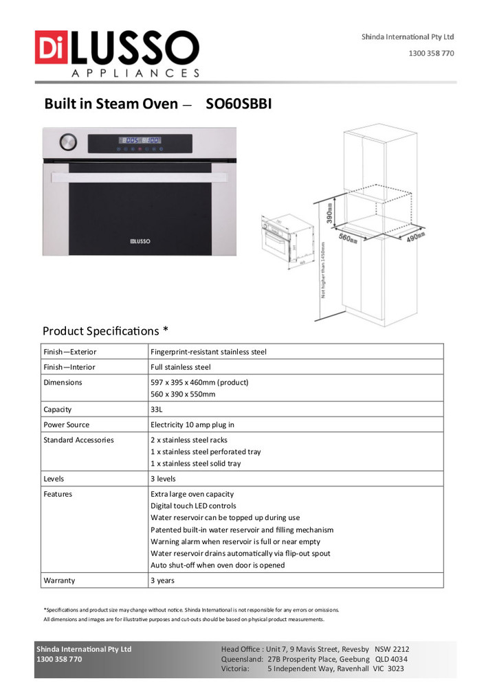 Dilusso BUILT IN STEAM OVEN - STAINLESS STEEL