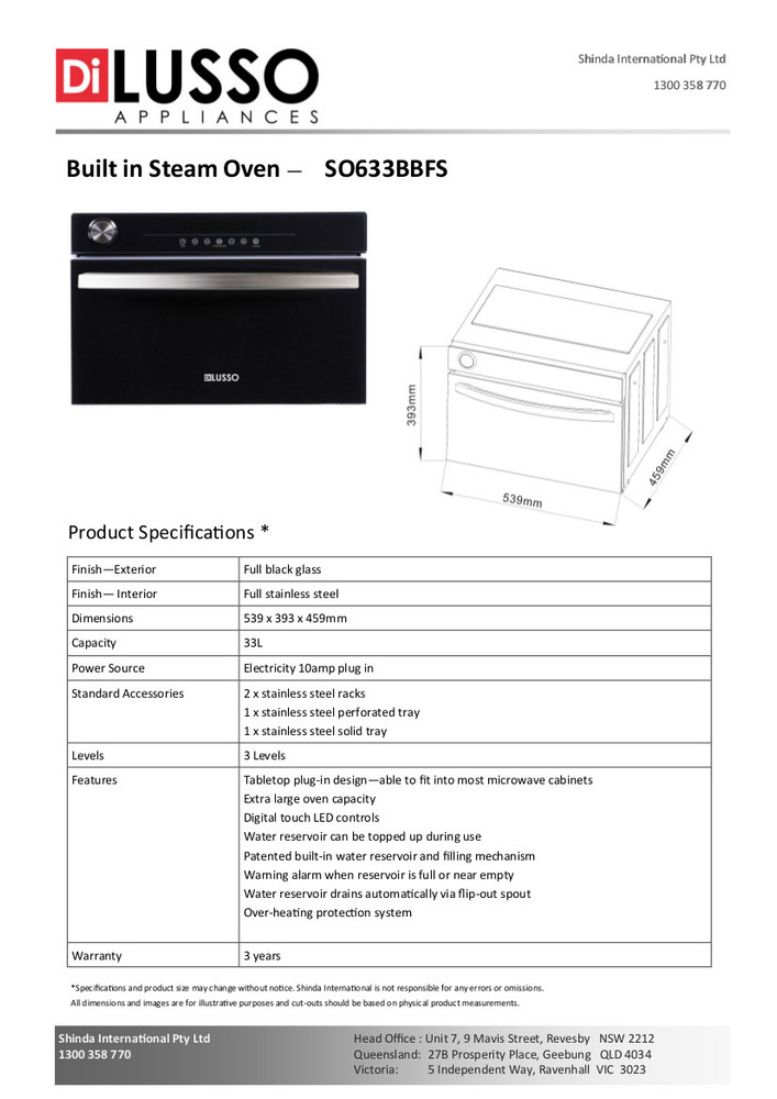 Dilusso FREESTANDING STEAM OVEN - BLACK GLASS