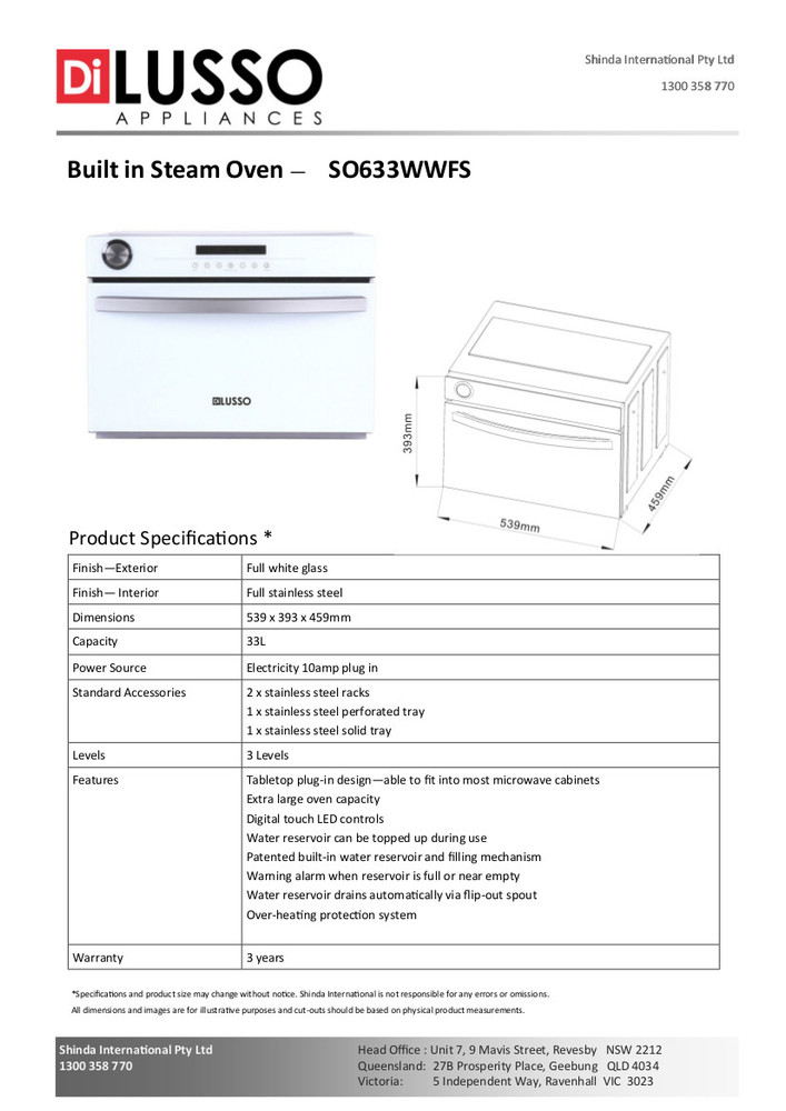 Dilusso FREESTANDING STEAM OVEN - WHITE GLASS