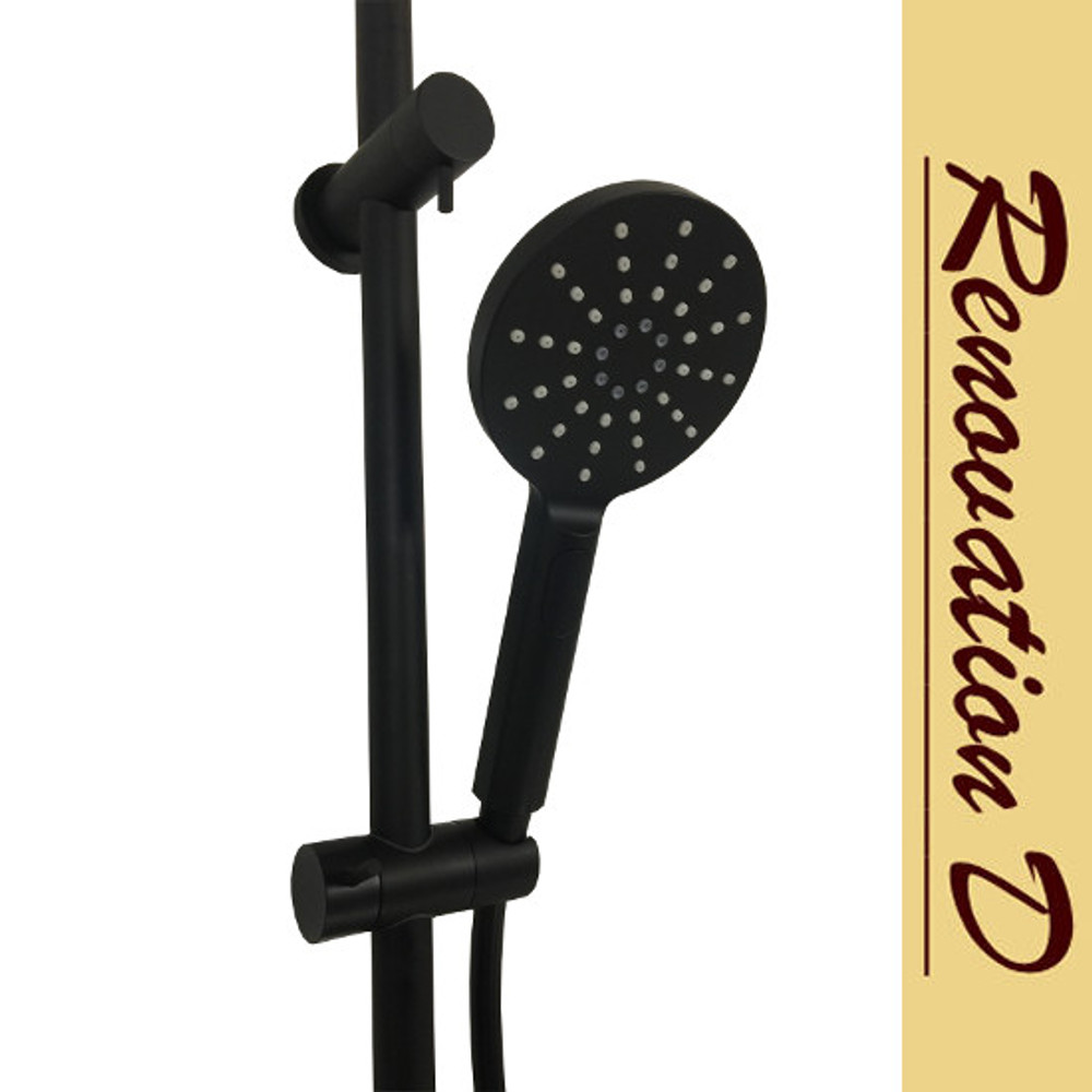 BLack Round Twin Shower Combination - Back Inlet