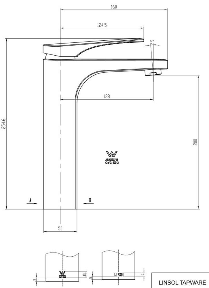 Linsol Platinum Tower Basin Mixer