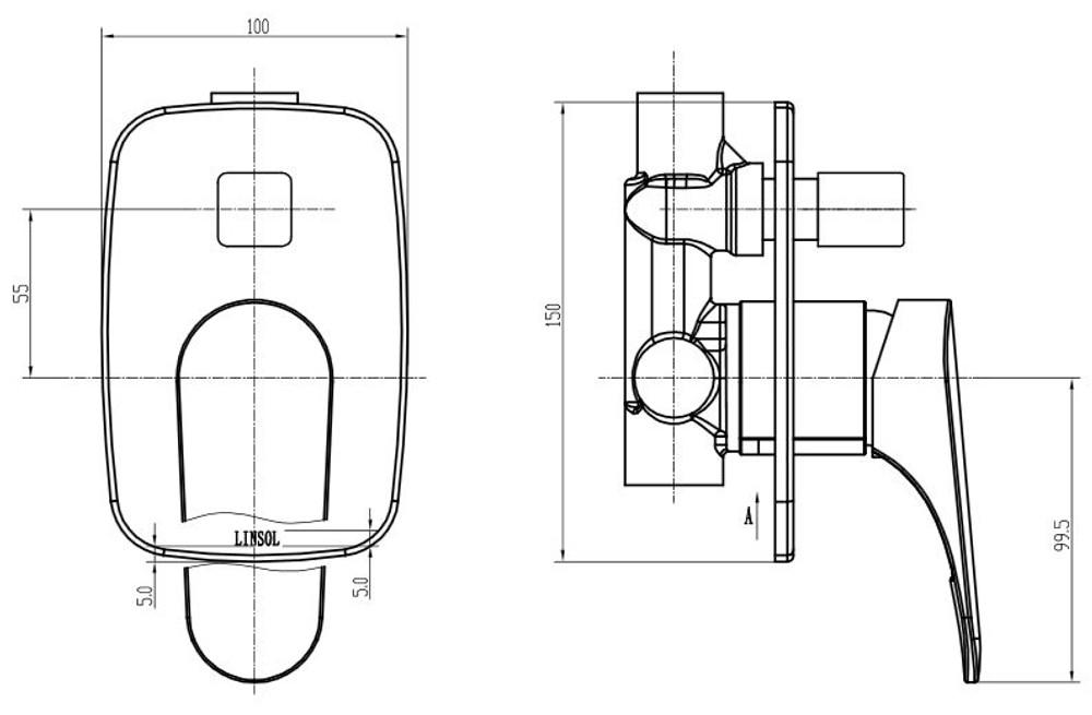 Linsol Platinum Shower Mixer Divertor
