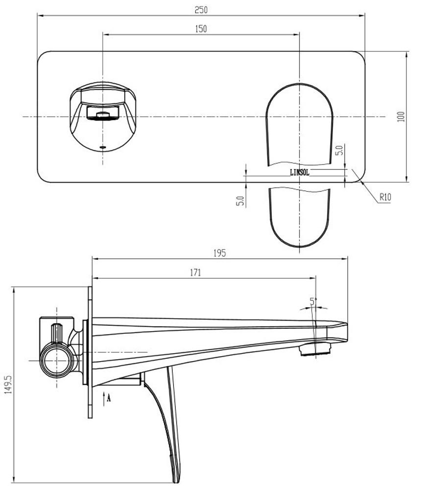 Linsol Platinum Wall Mixer & Spout Combo