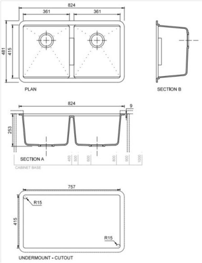Zum Granite Kitchen Sink - Drop In or Under Mount - Double Bowl 900 x 500