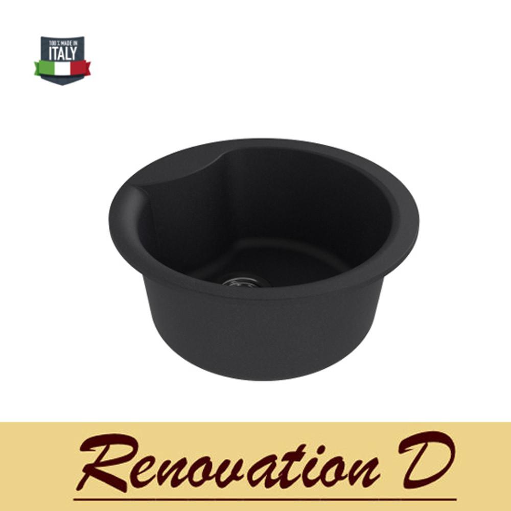 Cino Curva CGS 410T 485mm Dia Drop in Granite Sink Black