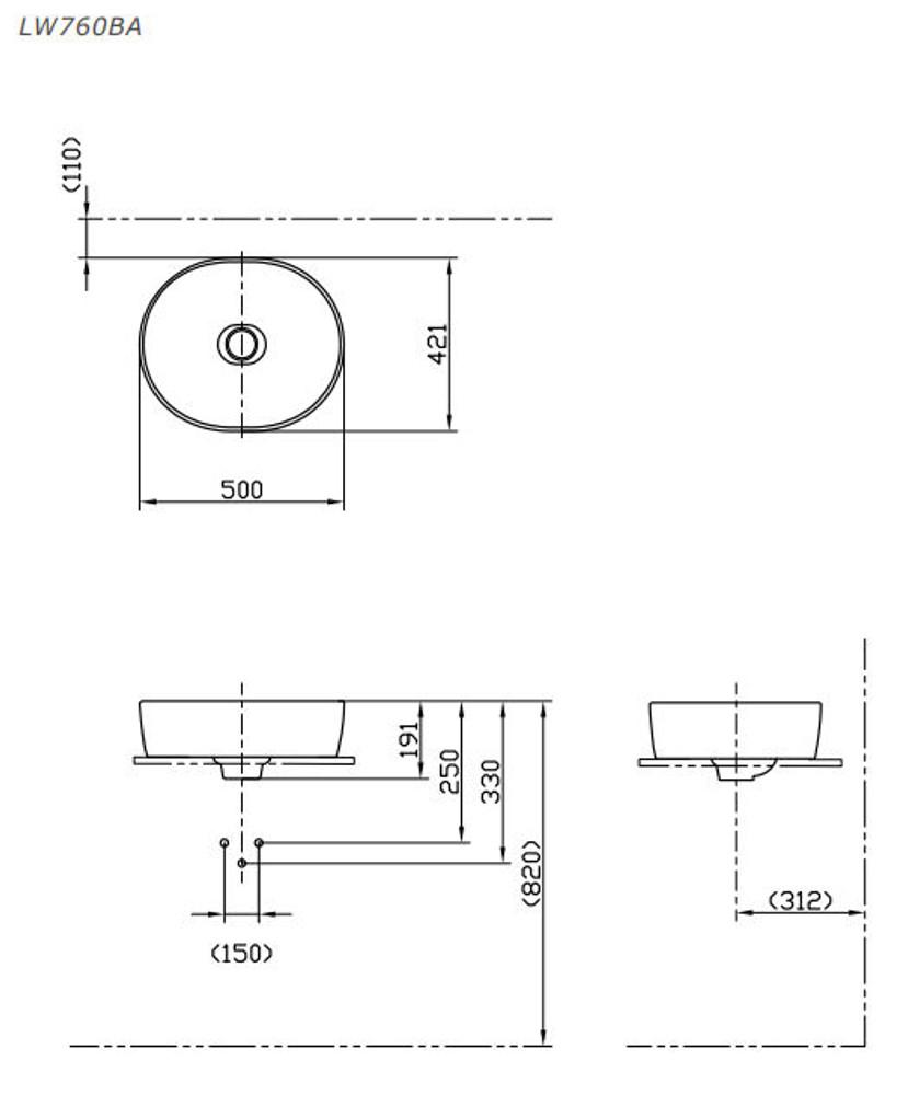 TOTO Basic+ Bench Top Basin 760