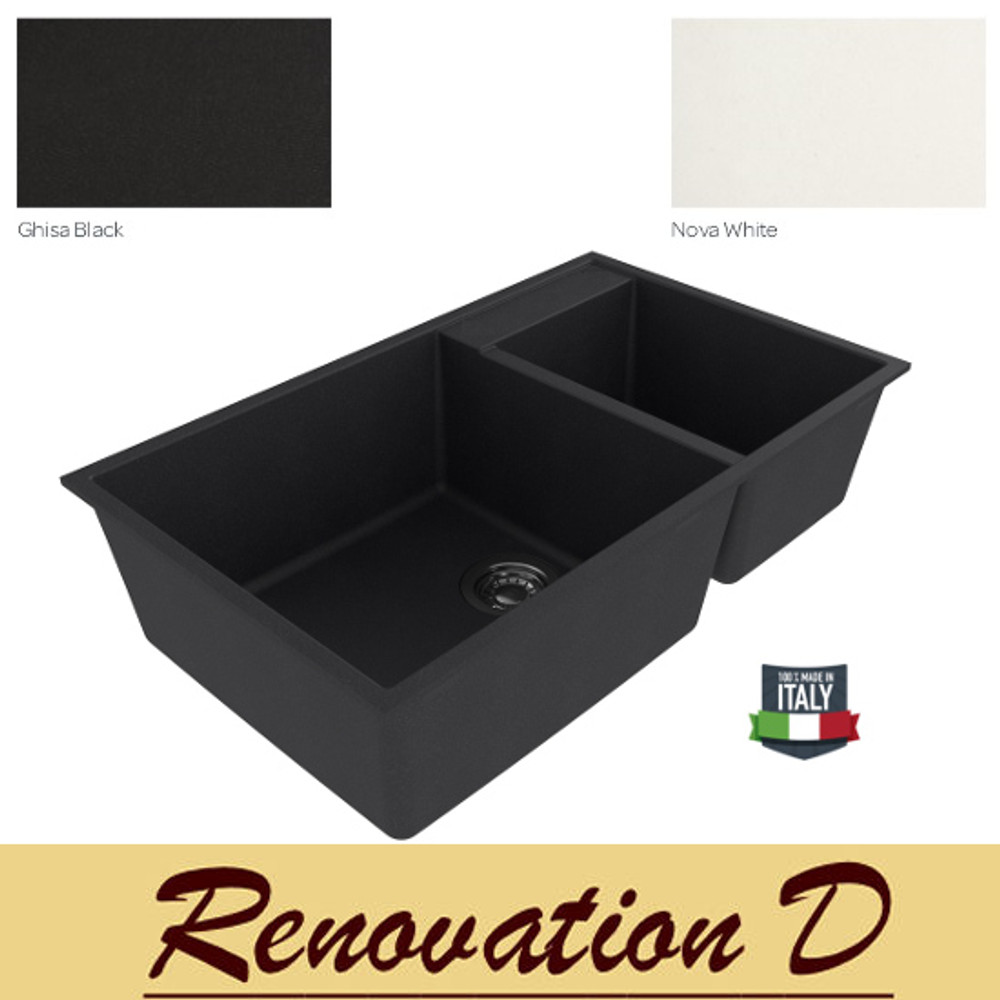 Cino  Puro CGS 440U 785 MM Undermount One And Half Bowl Granite Sink Black White