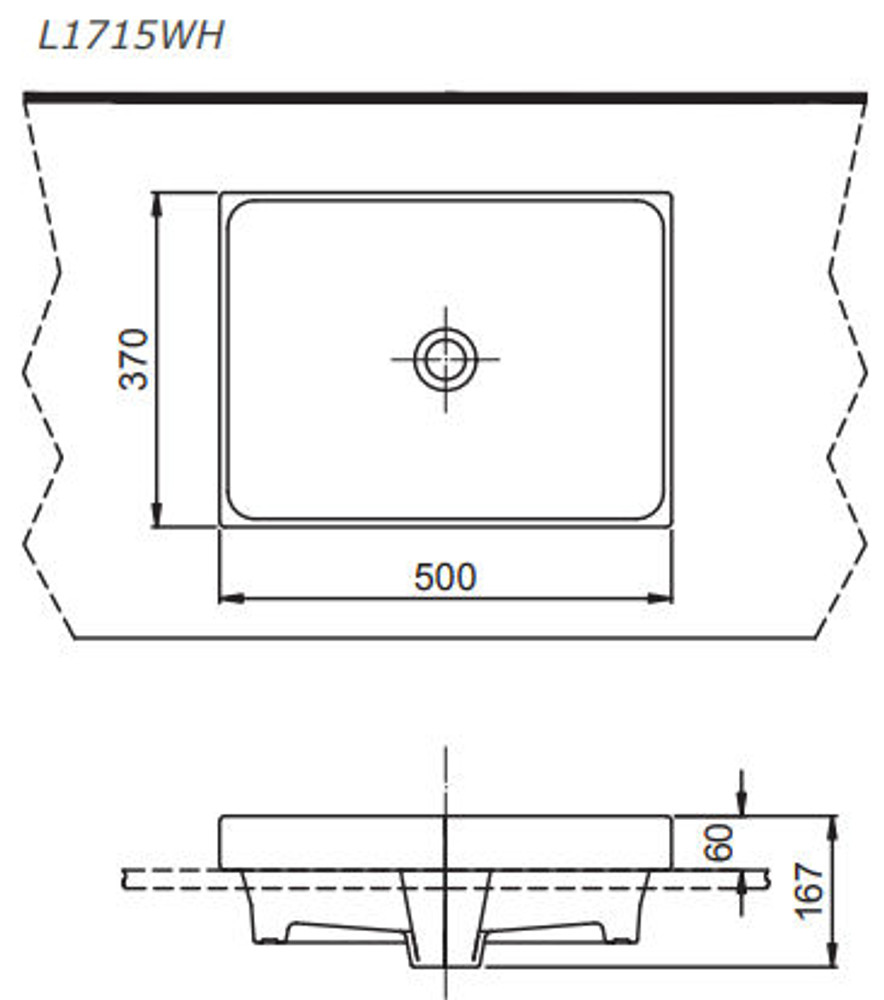 toto square semi inset basin 1715