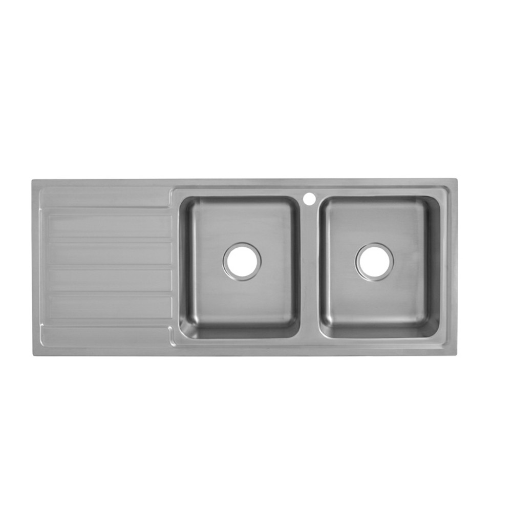 Deluxe Inset Kitchen Sink 1200mm- Double Bowl with Draining Board