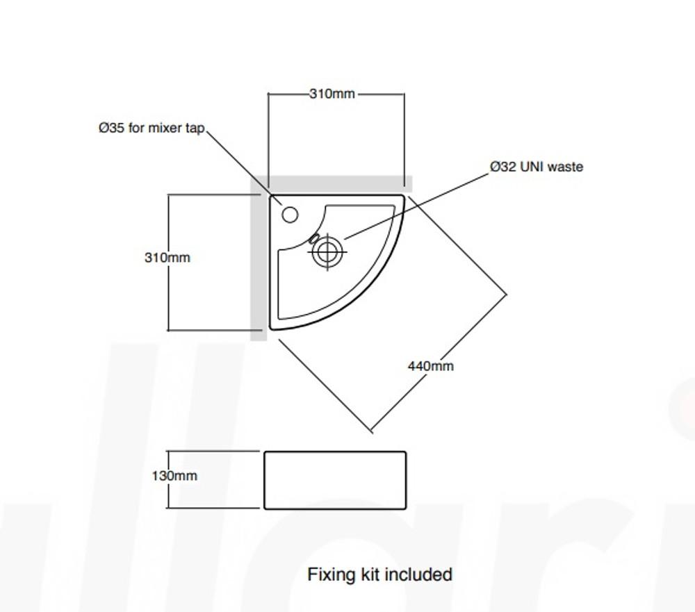 Corner Wall Hung Basin XL4299