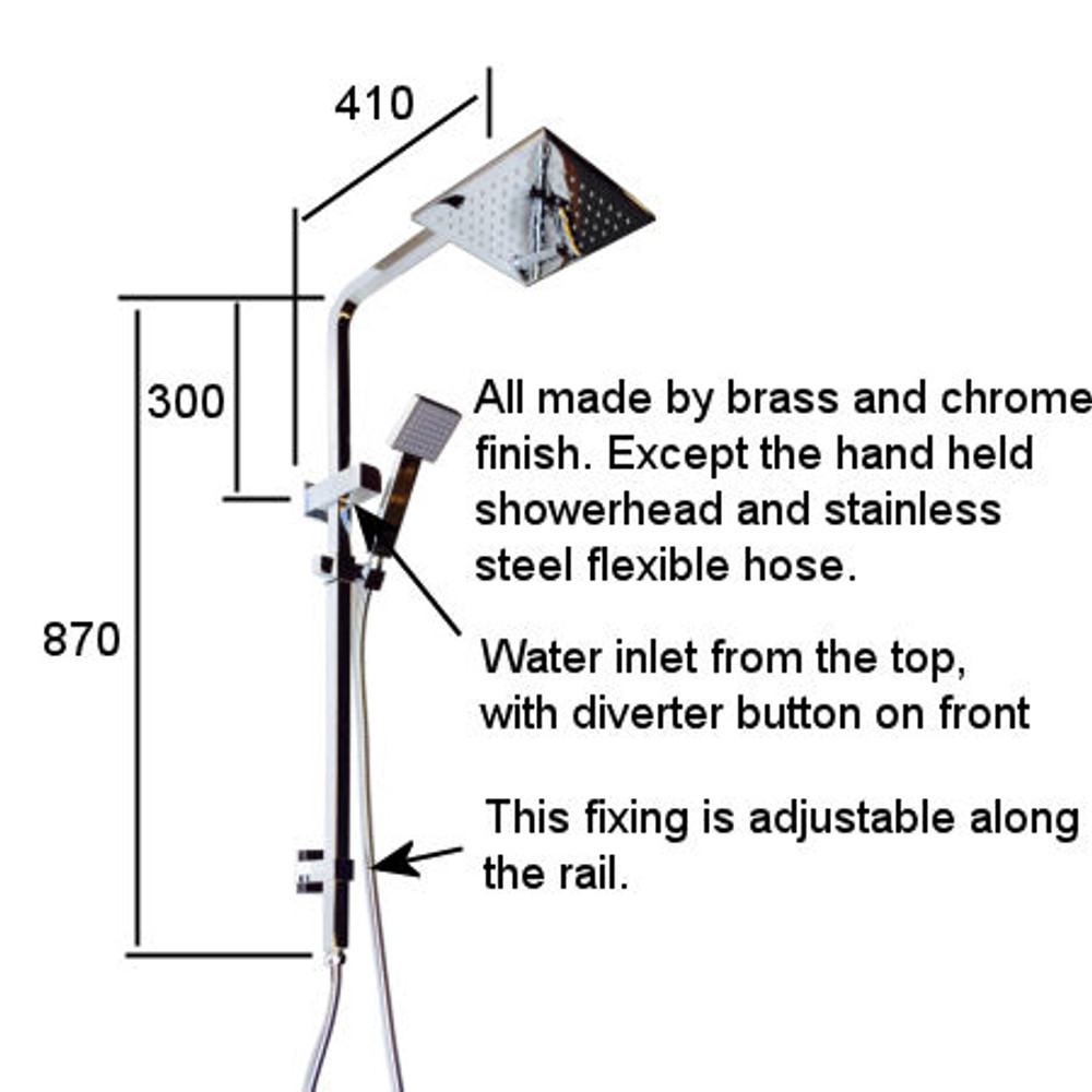 Square Shower Combination - Normandy No.2 - Back Inlet