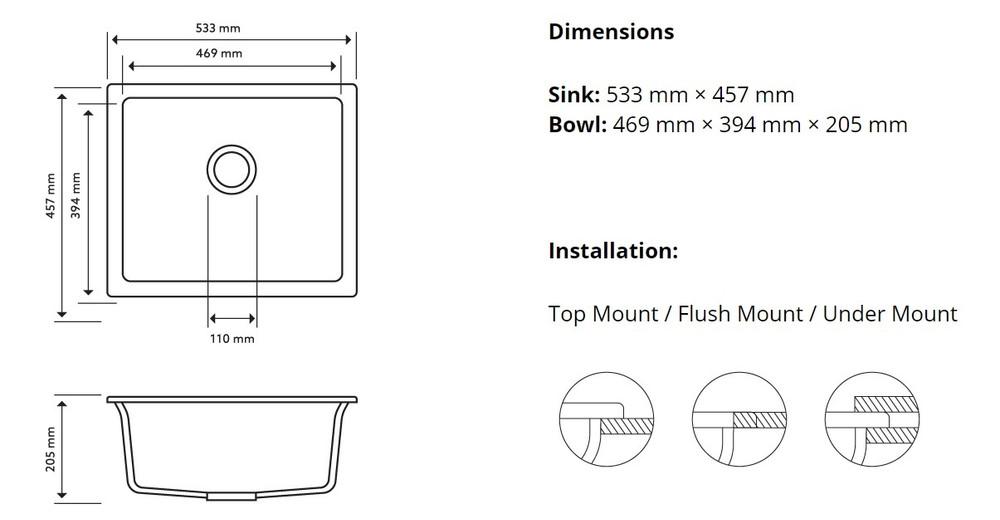 CarySil Salsa Granite Kitchen Sink - Drop In or Under Mount - Single Bowl 533x457