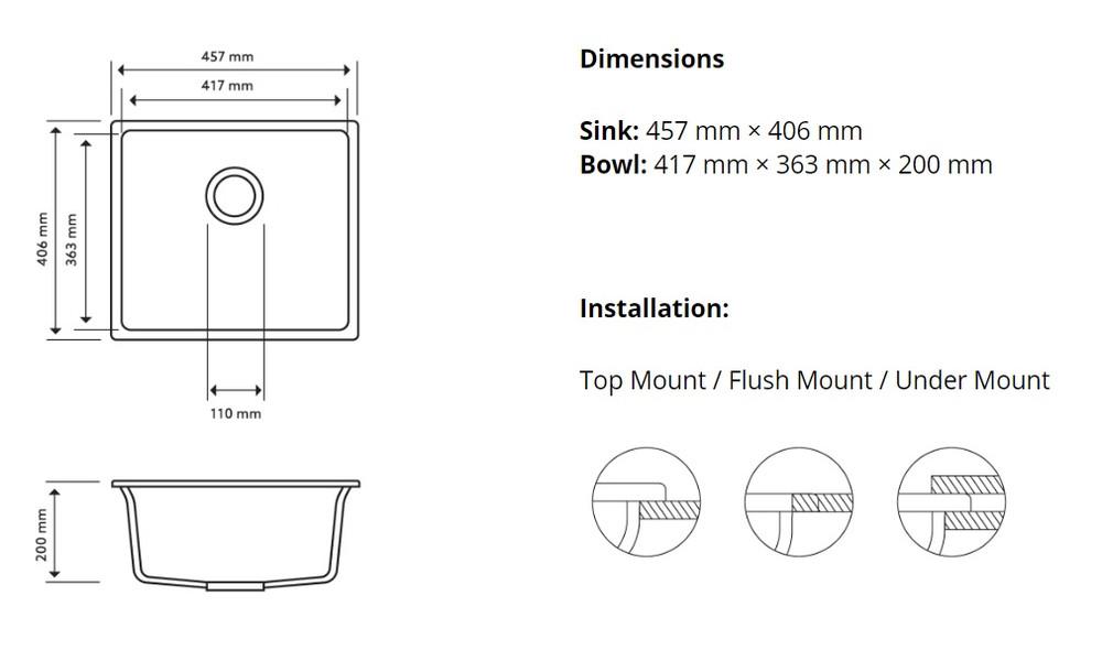 CarySil Magic Salsa Granite Kitchen Sink - Drop In or Under Mount - Single Bowl 457x406