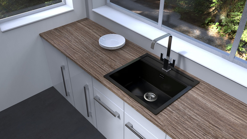 CarySil Waltz Granite Kitchen Sink - Drop In or Under Mount - Single Bowl 560x510