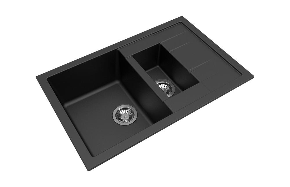CARYSIL MOZZARD ONE AND A QUARTER BOWL GRANITE KITCHEN SINK 780MM X 500 MM X 205MM BLACK GREY