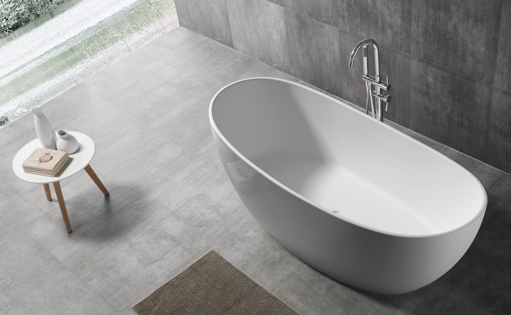 Normandy 8801 Solid Surface Stone Oval Freestanding Bathtub - 1630 ...