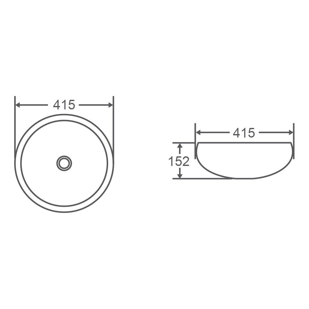 CH87 Above Counter Round Art Basin - Touchline White