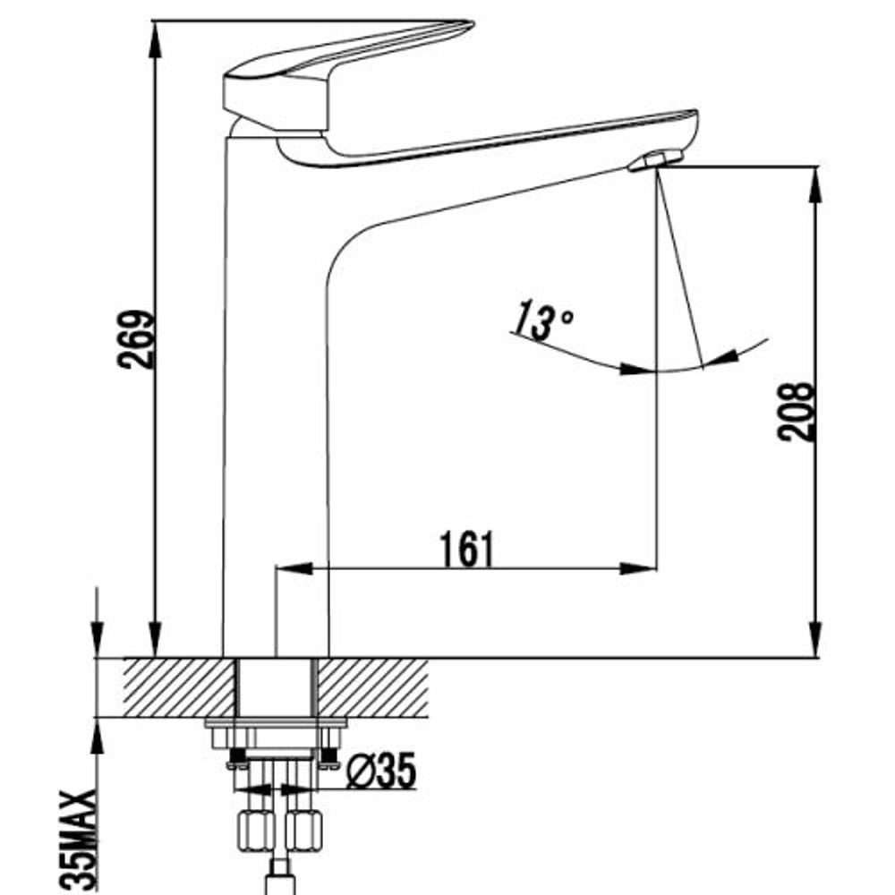 ikon SULU Basin Tower Mixer Tap - Chrome
