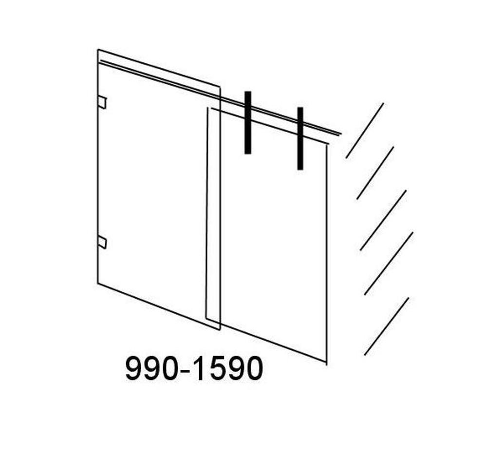 Wall to Wall Sliding Frameless Shower Screen -Roller 3 Panels 1390mm - 2390mm