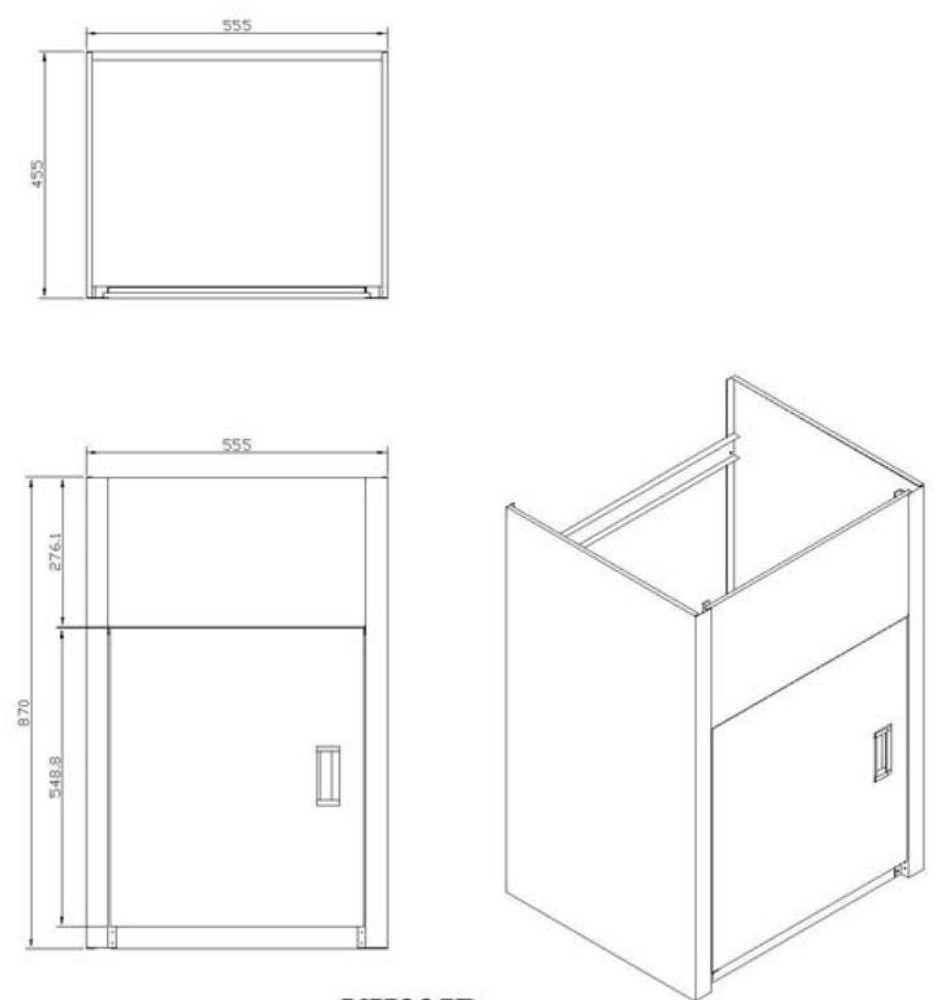 35L Cabinet - Door at 555mm Side