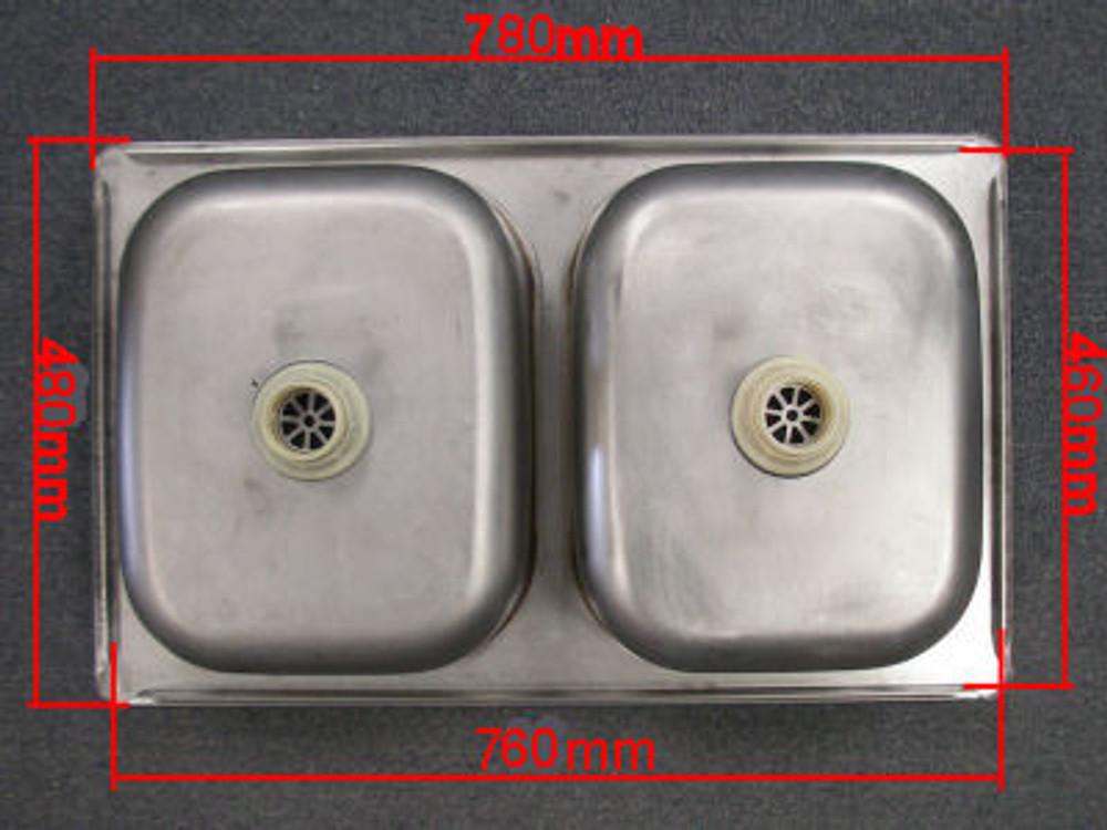 Undermount Kitchen Sink Double Bowl 785mm x 445mm