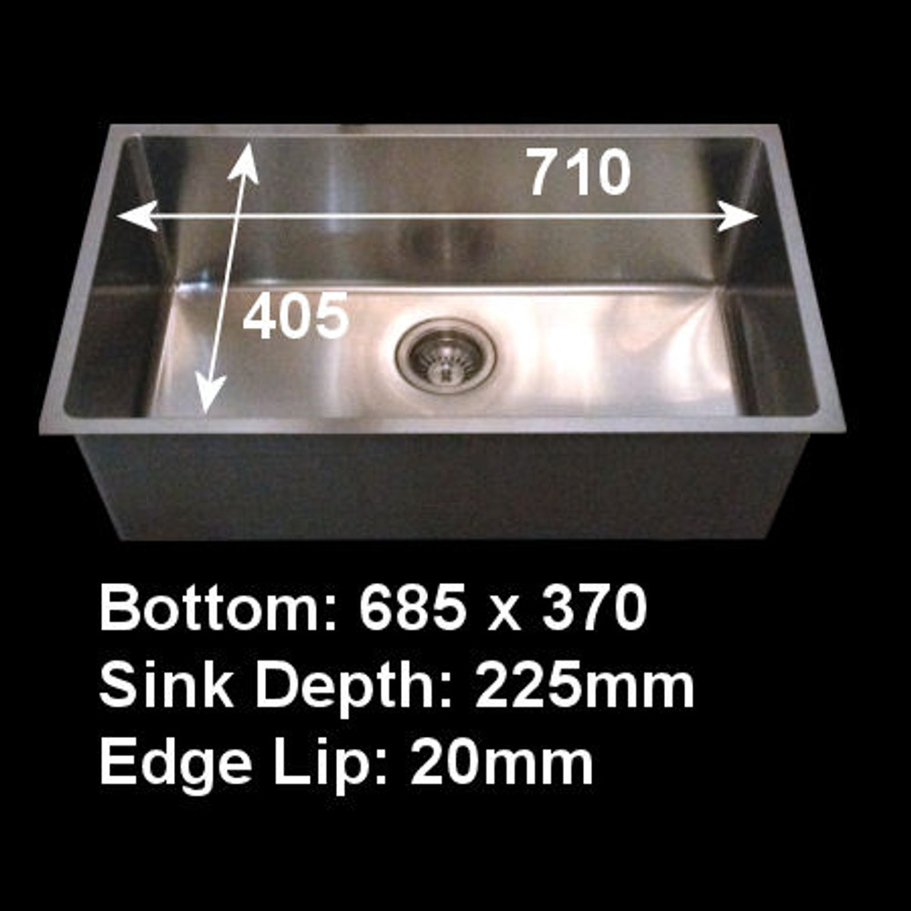 Project Undermount Square Sink, Single Bowl 710mm -Made By Mould