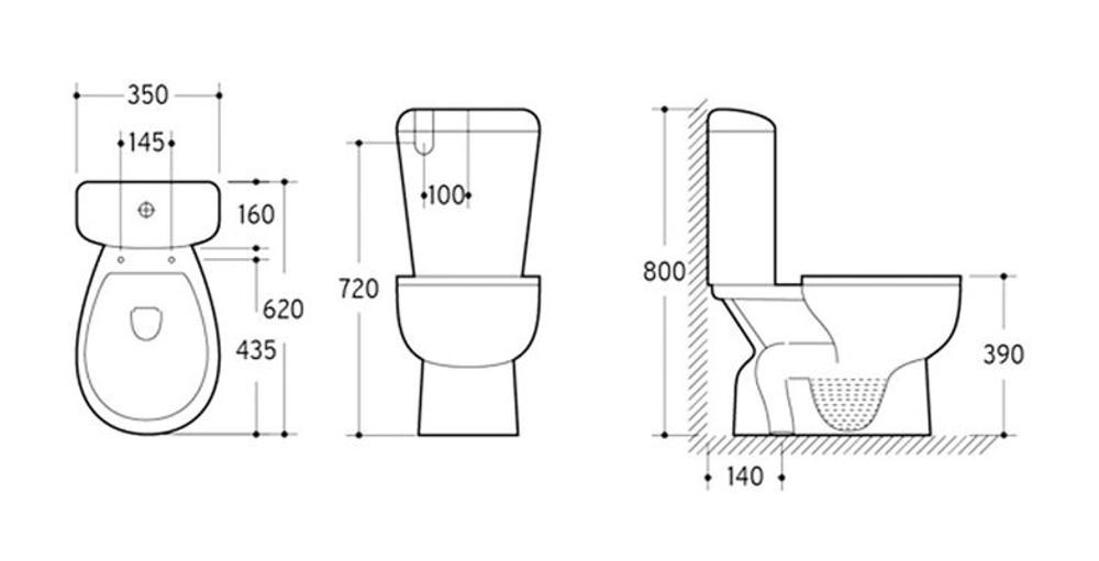 KEMP NINE Close Coupled Toilet Suite - S Trap