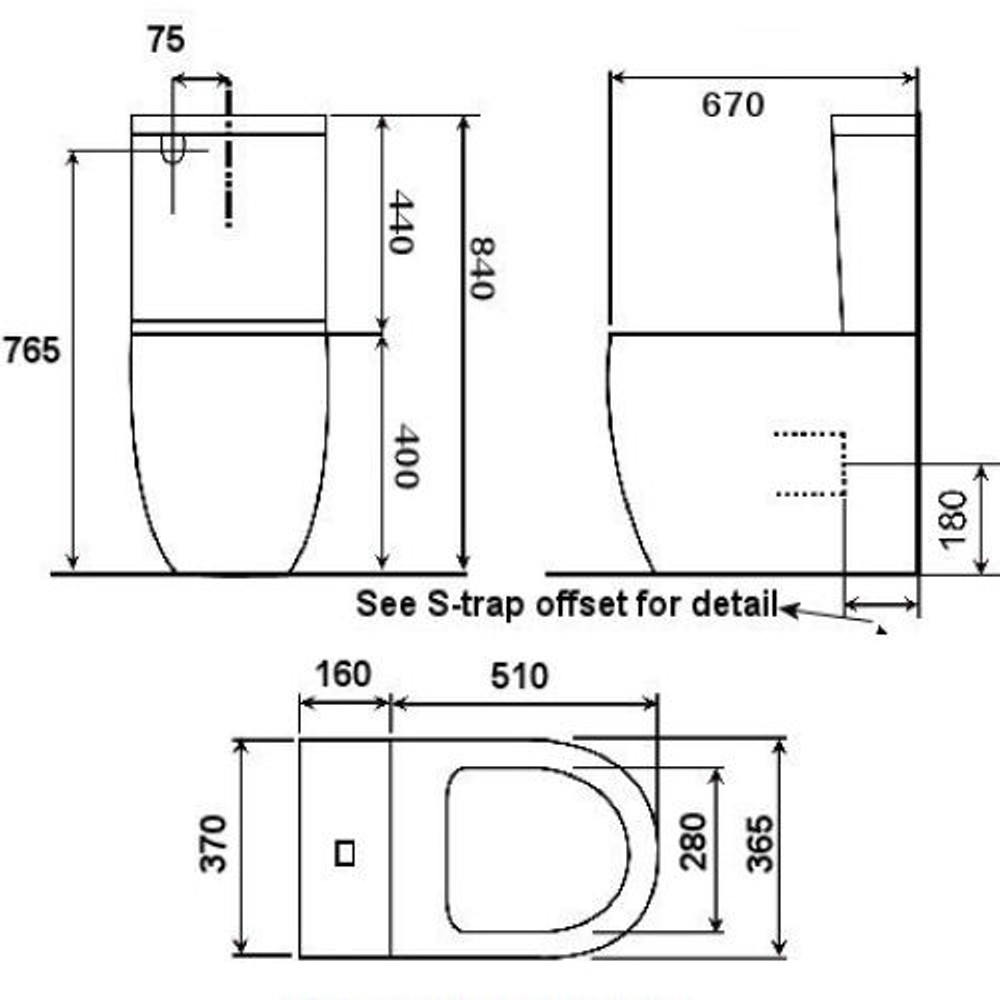 Venus Wall Faced Toilet - S or P trap