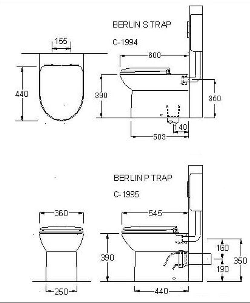 WELS Berlin In Wall Cistern Toilet - Wall Face - Include Cistern