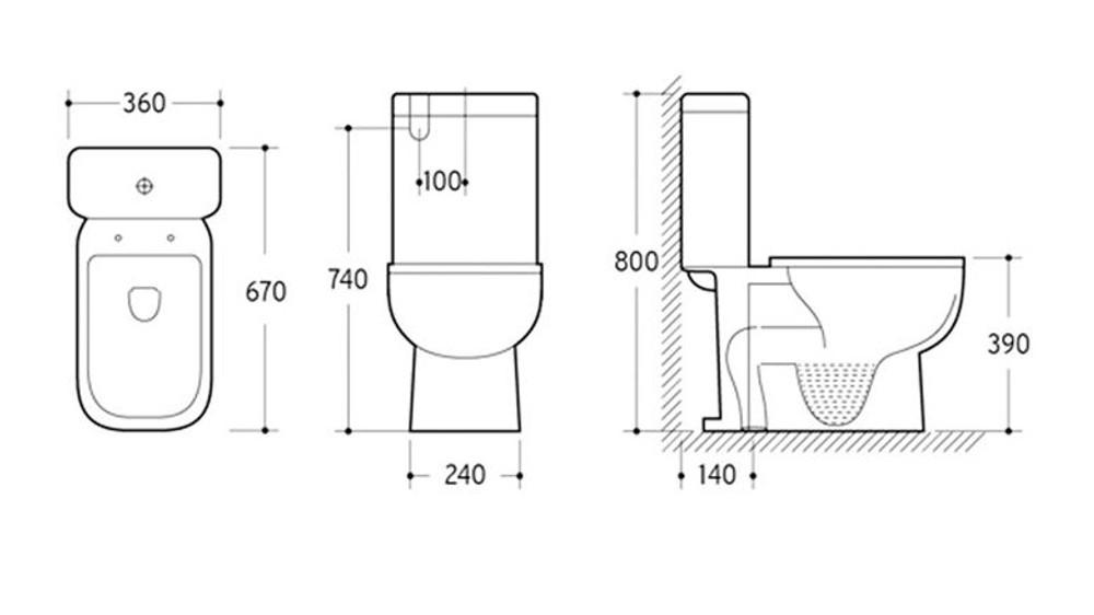 KEMP SIX Close Coupled Toilet Suite - S Trap