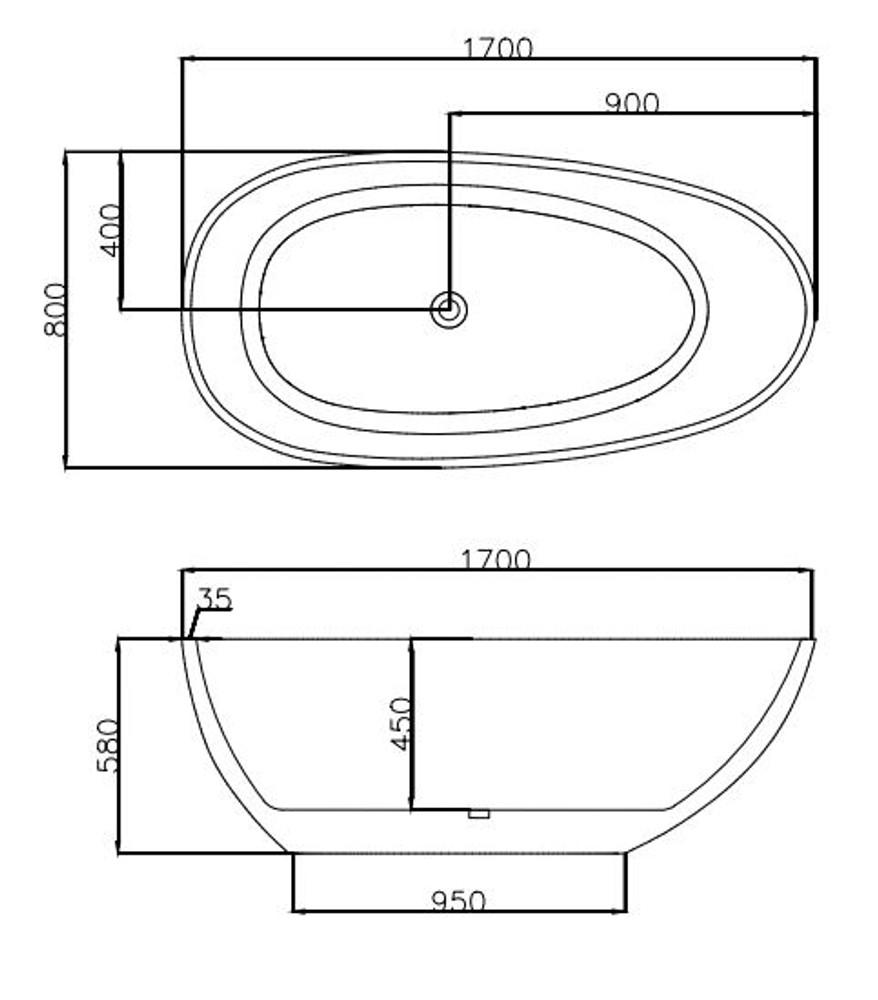 Normandy Zurich Egg Shape Oval 1700mm Freestanding Baths