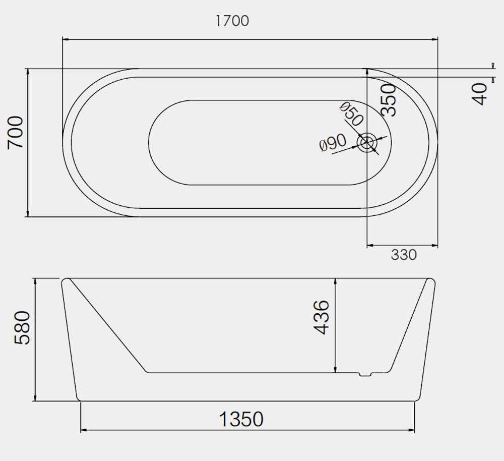 Varlie Narrow Oval White Bath Tub 1500mm/1700mm
