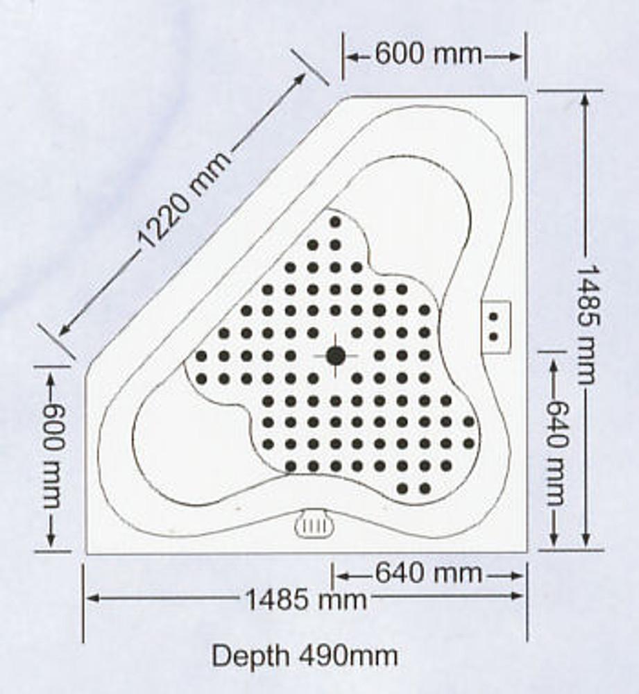 Zamora 1485mm Corner Spa Bath with Pump