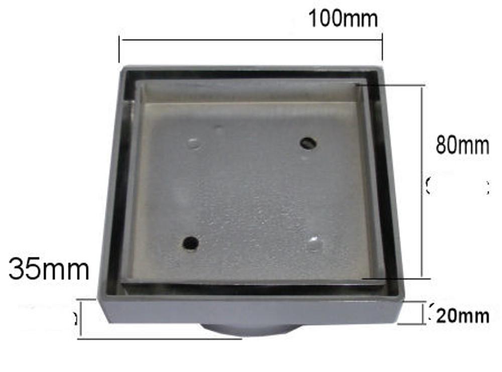Thin Square Tile Insert Floor Waste - Matt Black 80mm